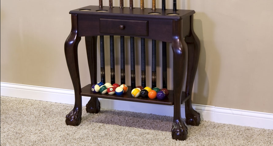 Carved Leg Cue Rack with Drawer
