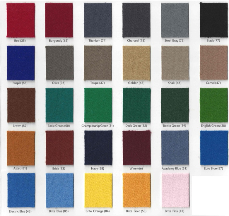 Felt Colors For Your Pool Table At Sunny S Pools Amp More