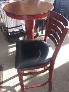 Pub table and wood chair