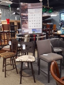 wide variety of chairs and stools